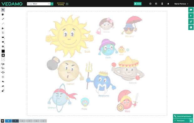 Vedamo Virtual Classroom screenshot: Vedamo session templates