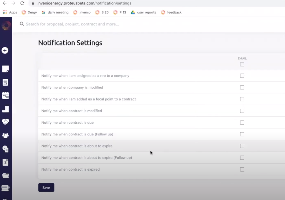 Proteus notification settings