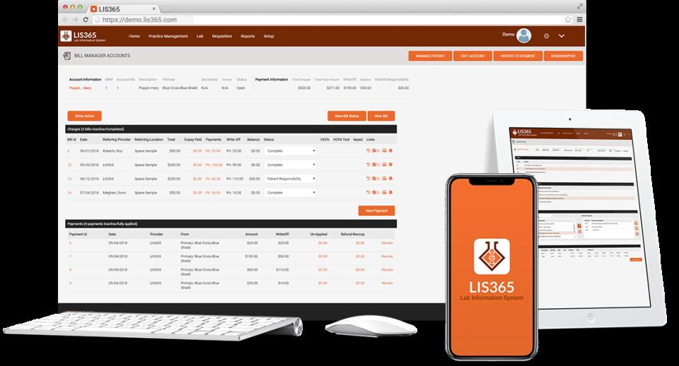 LIS 365 bill manager accounts screenshot