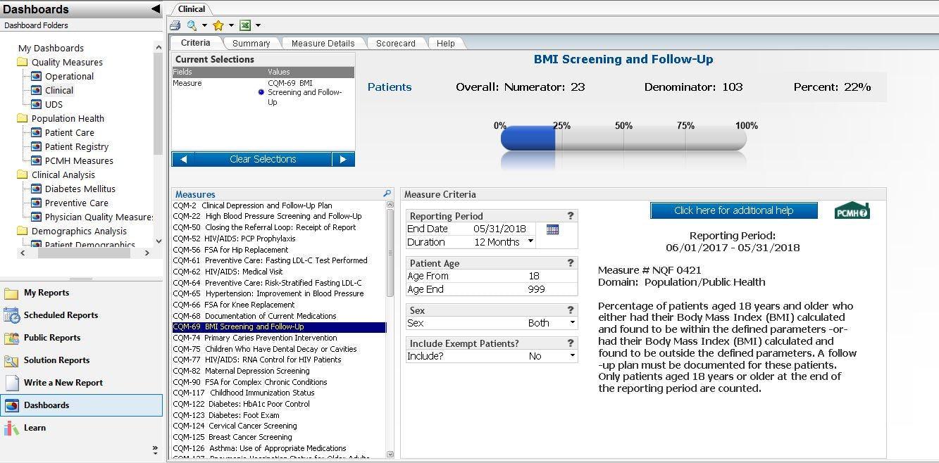 Intergy Software - Analytics CQM dashboard