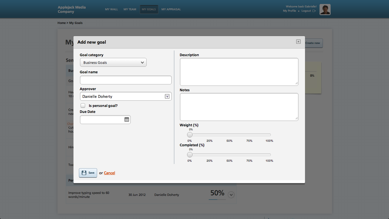 Kapta Create New Goal Screen