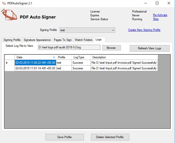 PDF AutoSigner logs screenshot