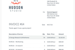 Capture d'écran pour AND. CO : Example of an invoice generated for Hudson Studio with AND CO's invoicing capabilities