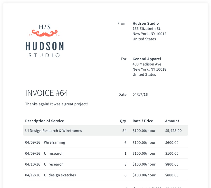Example of an invoice generated for Hudson Studio with AND CO's invoicing capabilities