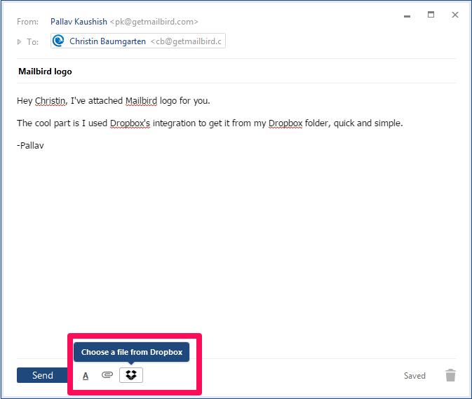 MailBird Software - Dropbox integration
