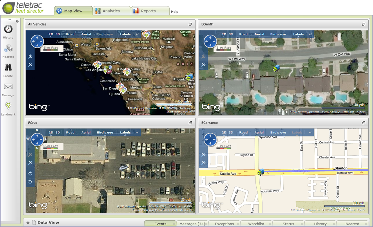 Teletrac - Displaying multiple map views and data