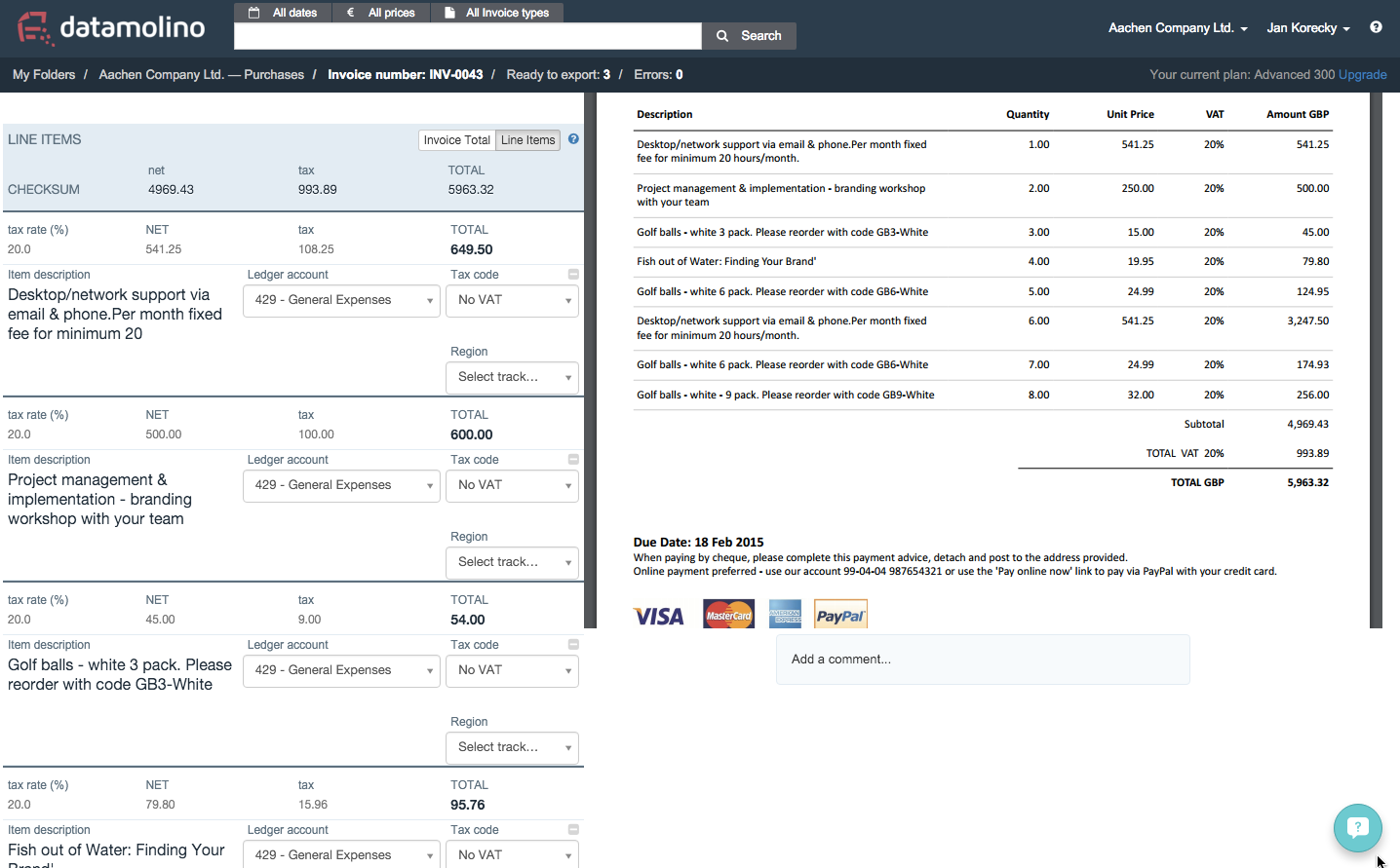 Datamolino captures line items on your invoices for easier bookkeeping