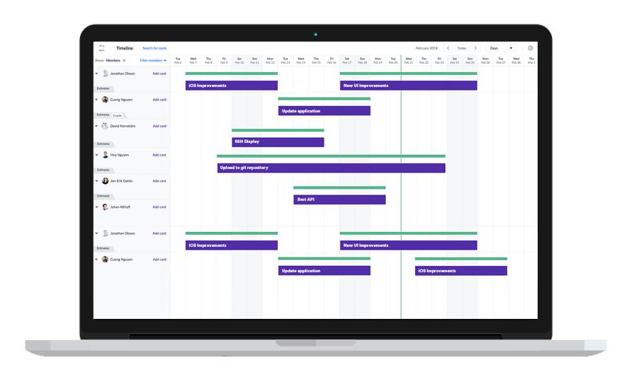 Favro Software - Favro timeline
