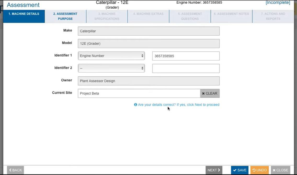 Plant Assessor machine details
