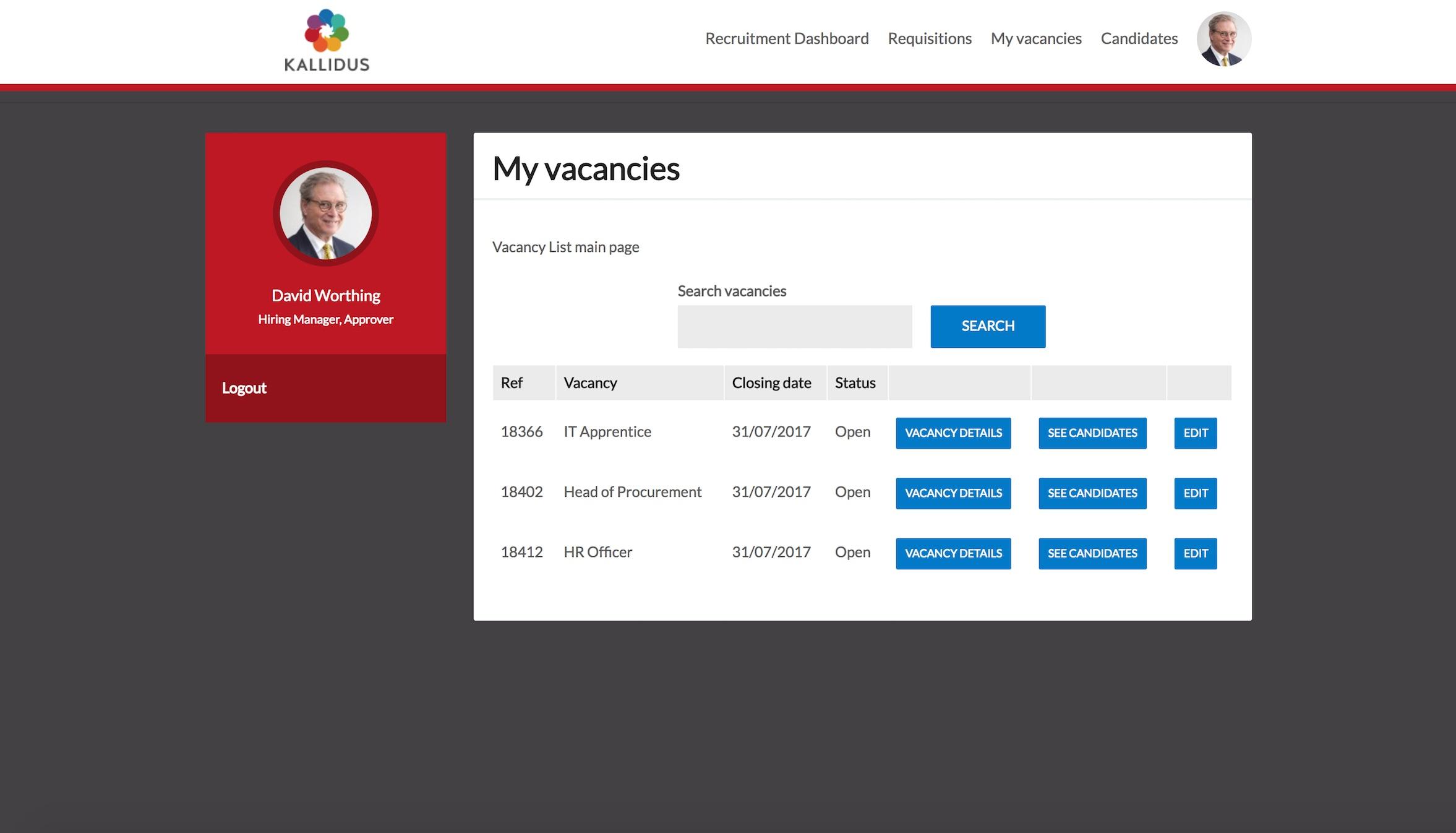 Hiring manager vacancies
