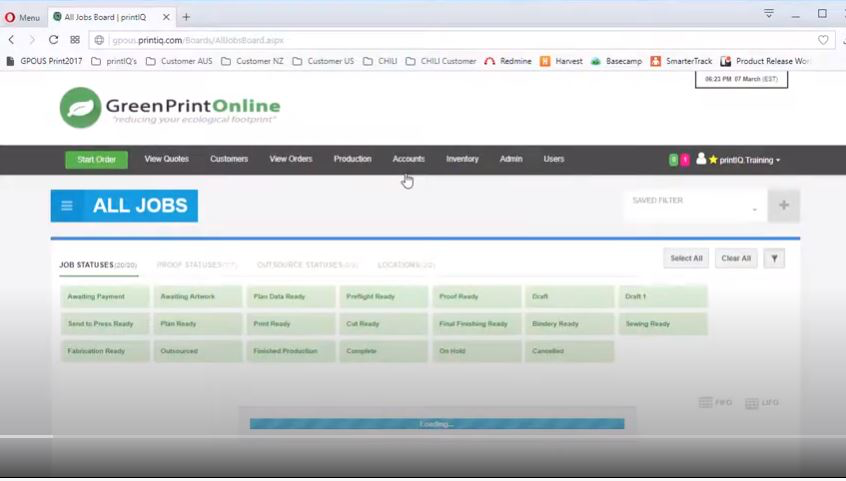 IQcore screenshot: IQcore all jobs
