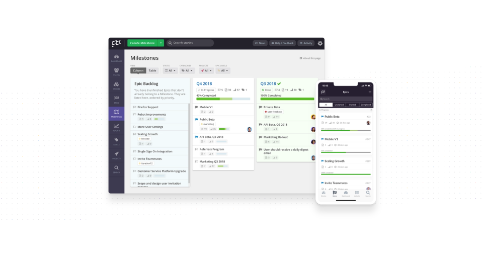 Clubhouse is a project management platform for software development teams, supported by a web-based UI and a companion mobile app for iOS devices