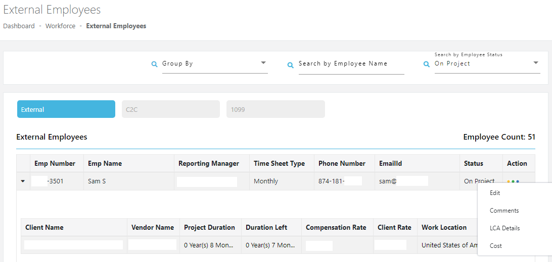 Comprehensive interface showing all the employees' details like their name, employee id number, reporting manager, timesheet type, email, and project details.