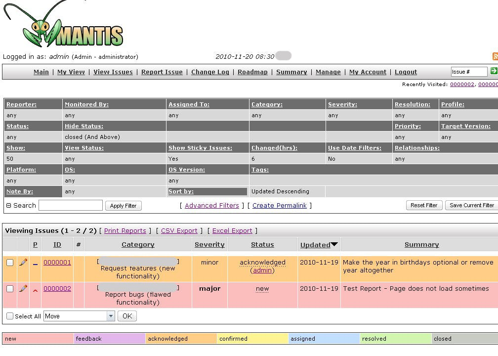MantisBT Software - Issue tracker