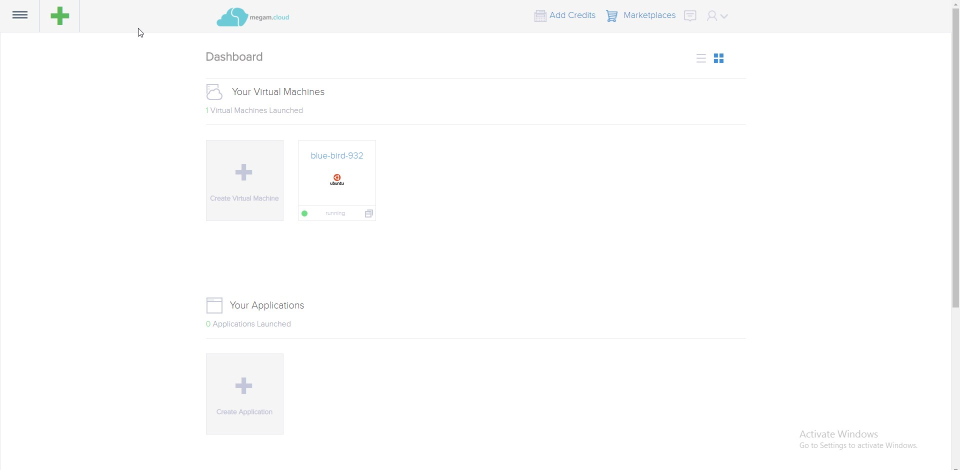 VirtEngine screenshot: User Dashboard