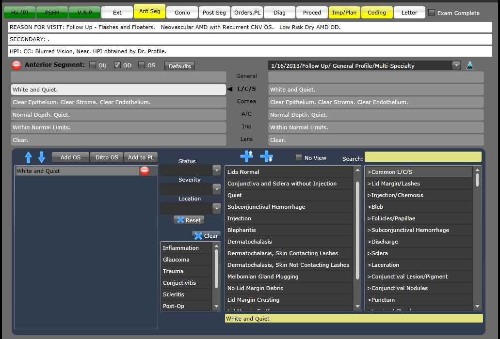 IntelleChartPRO Software - Anterior segment