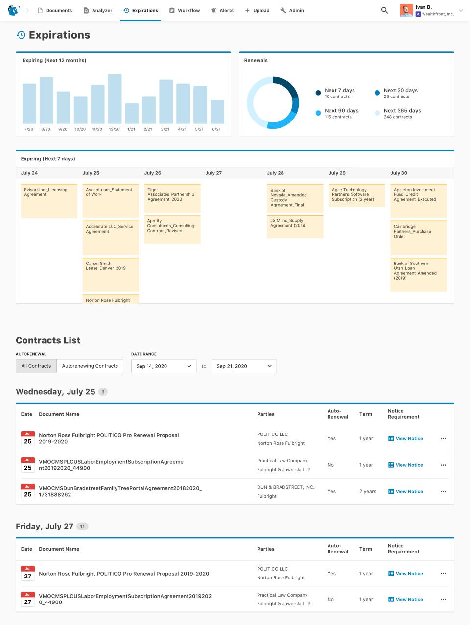 Evisort contract expirations tracker