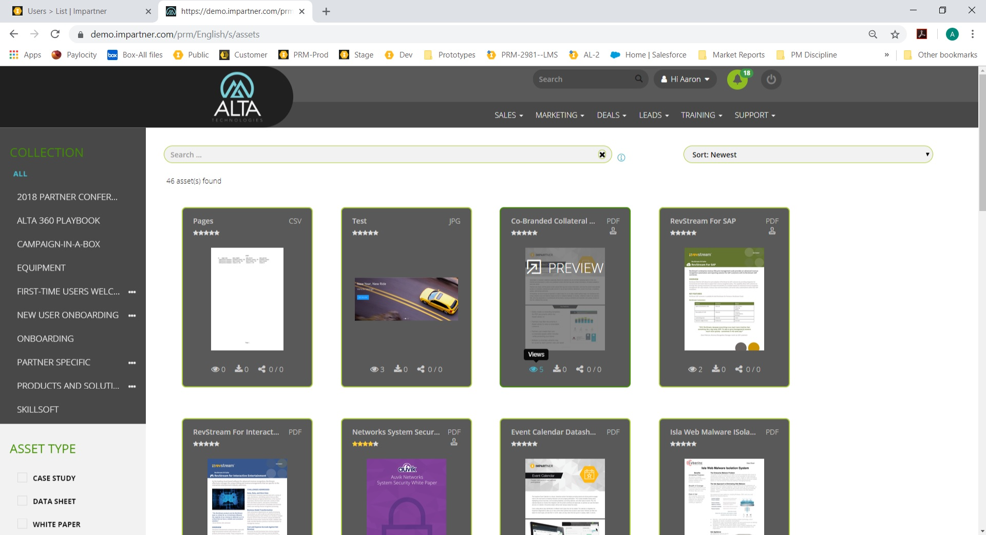 Impartner PRM content management screenshot
