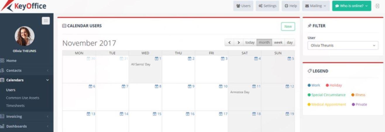 KeyOffice calendar