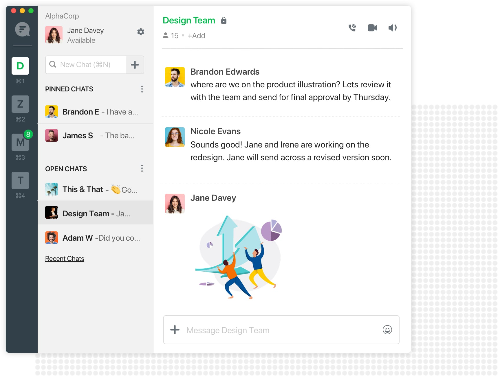 Have conversations around projects with 1:1 and group chats