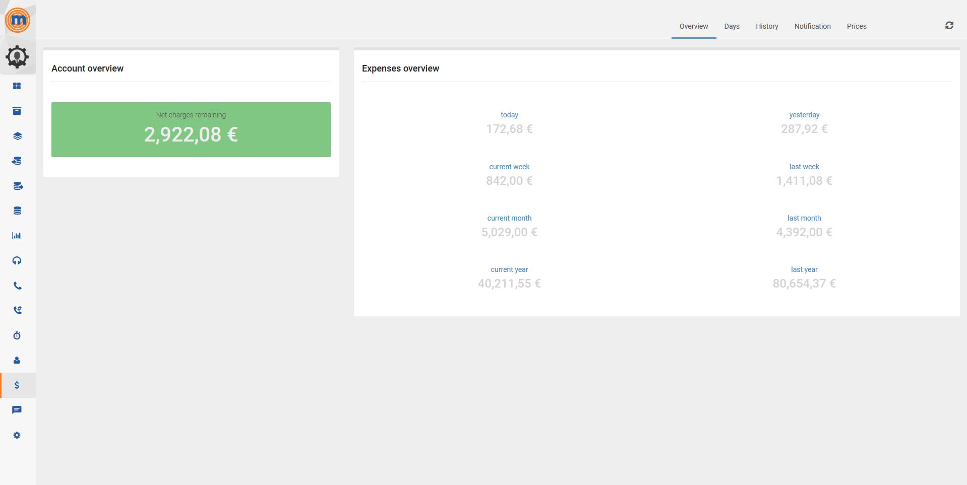 MegaDialer expense overview screenshot