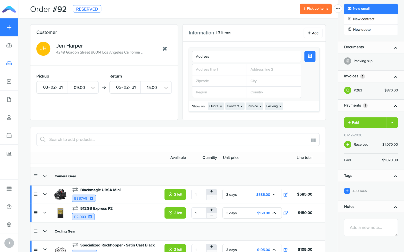 Create orders with automatic availability and pricing calculations.