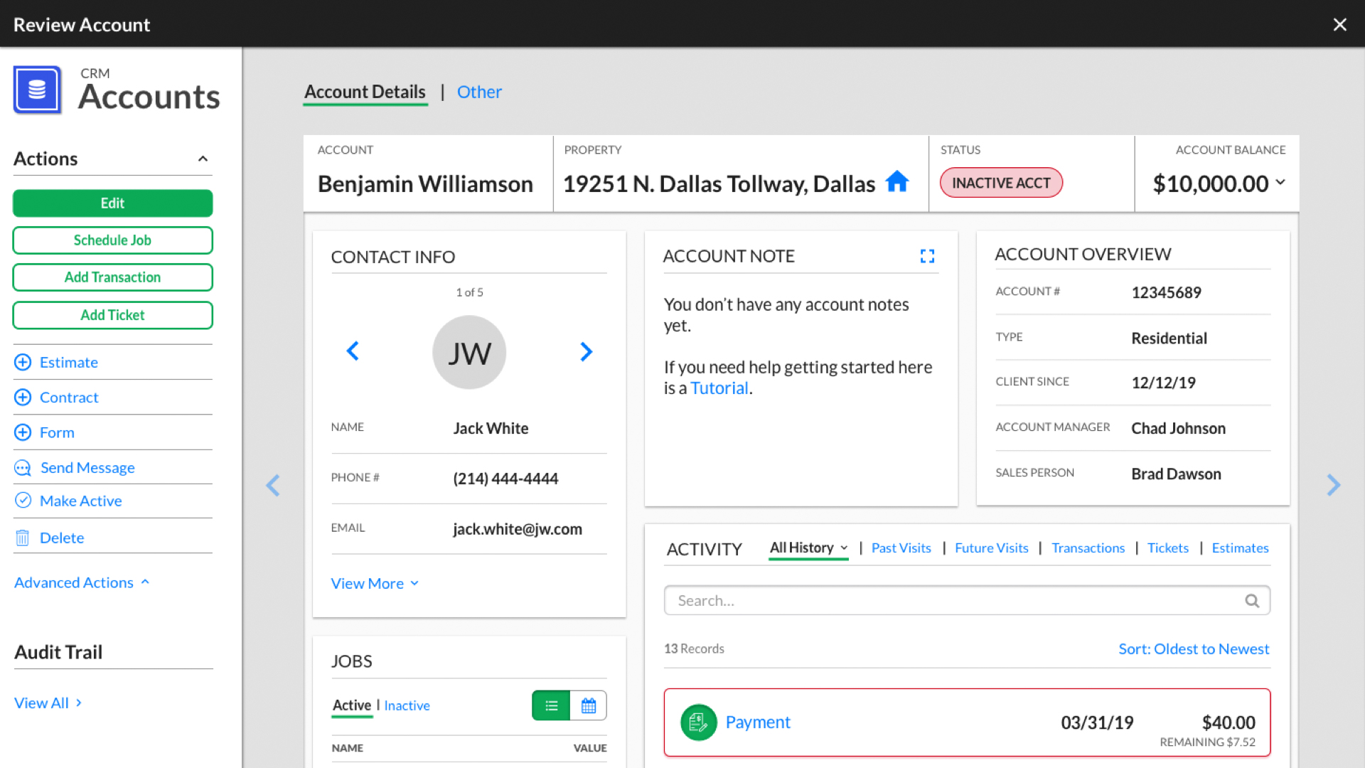 View all of your accounts in one place. This accounts screen makes it simple to see the full status of any client.