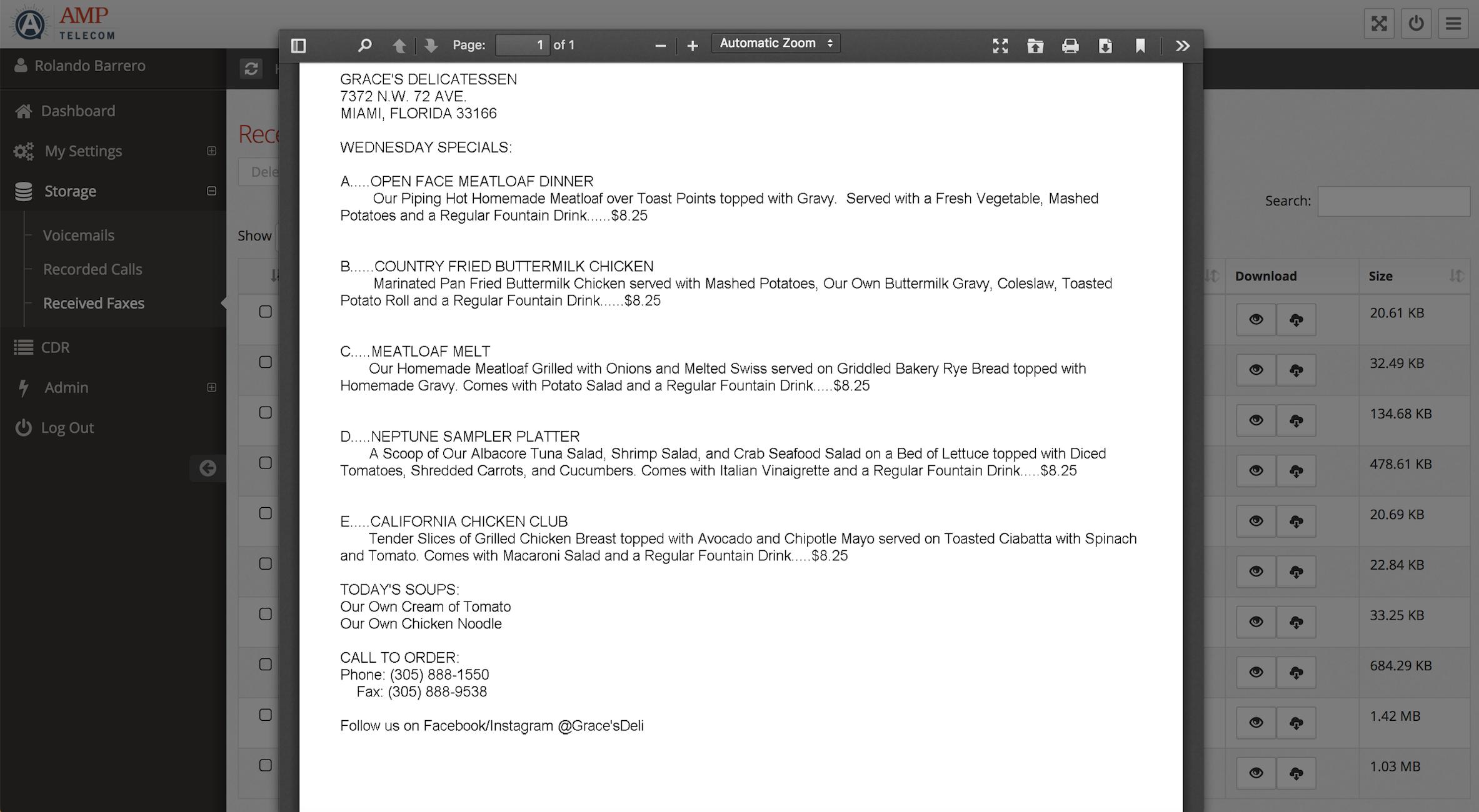 Amp Telecom Software - View fax