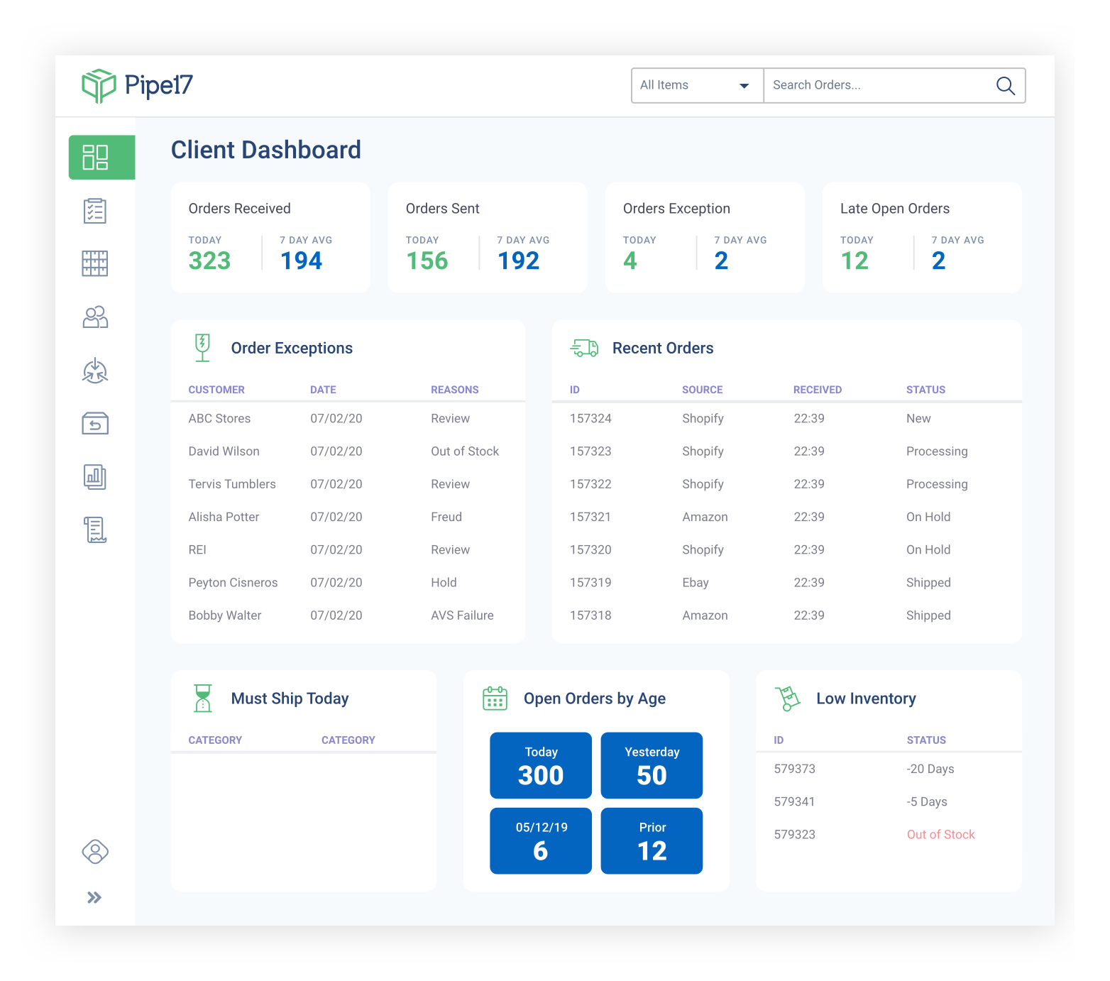 Pipe17 client dashboard