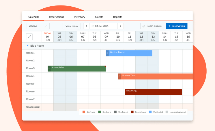 Drag and drop calendar to easily create and manage your reservations
