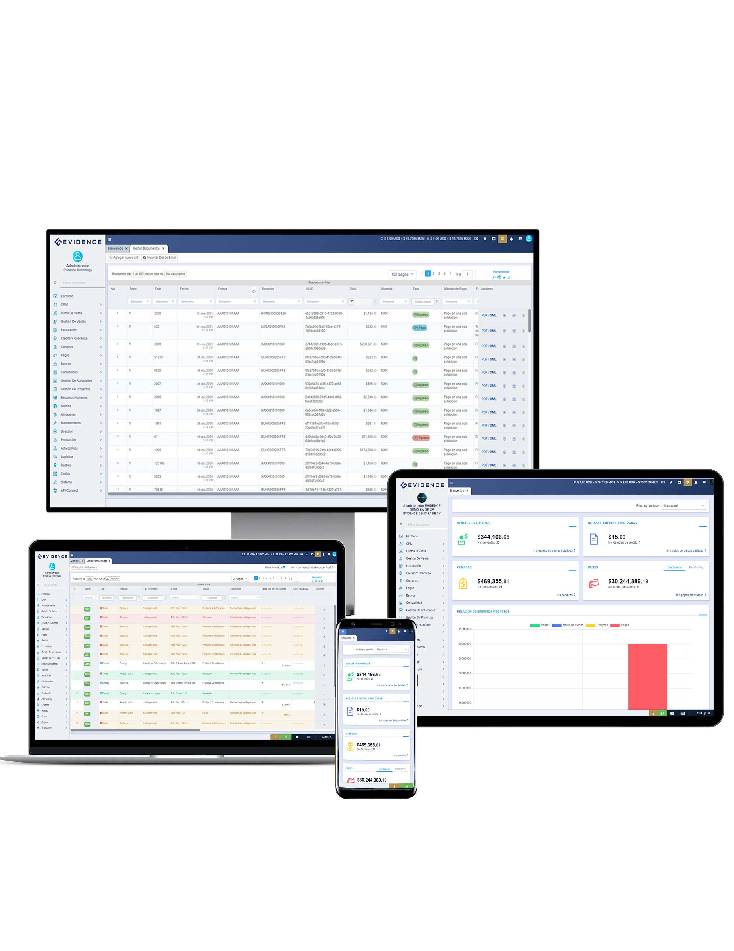Evidence ERP displays your company's most important information in real time, automating administrative, accounting and operational processes, avoiding recaptures, downtime and necks in all its operations