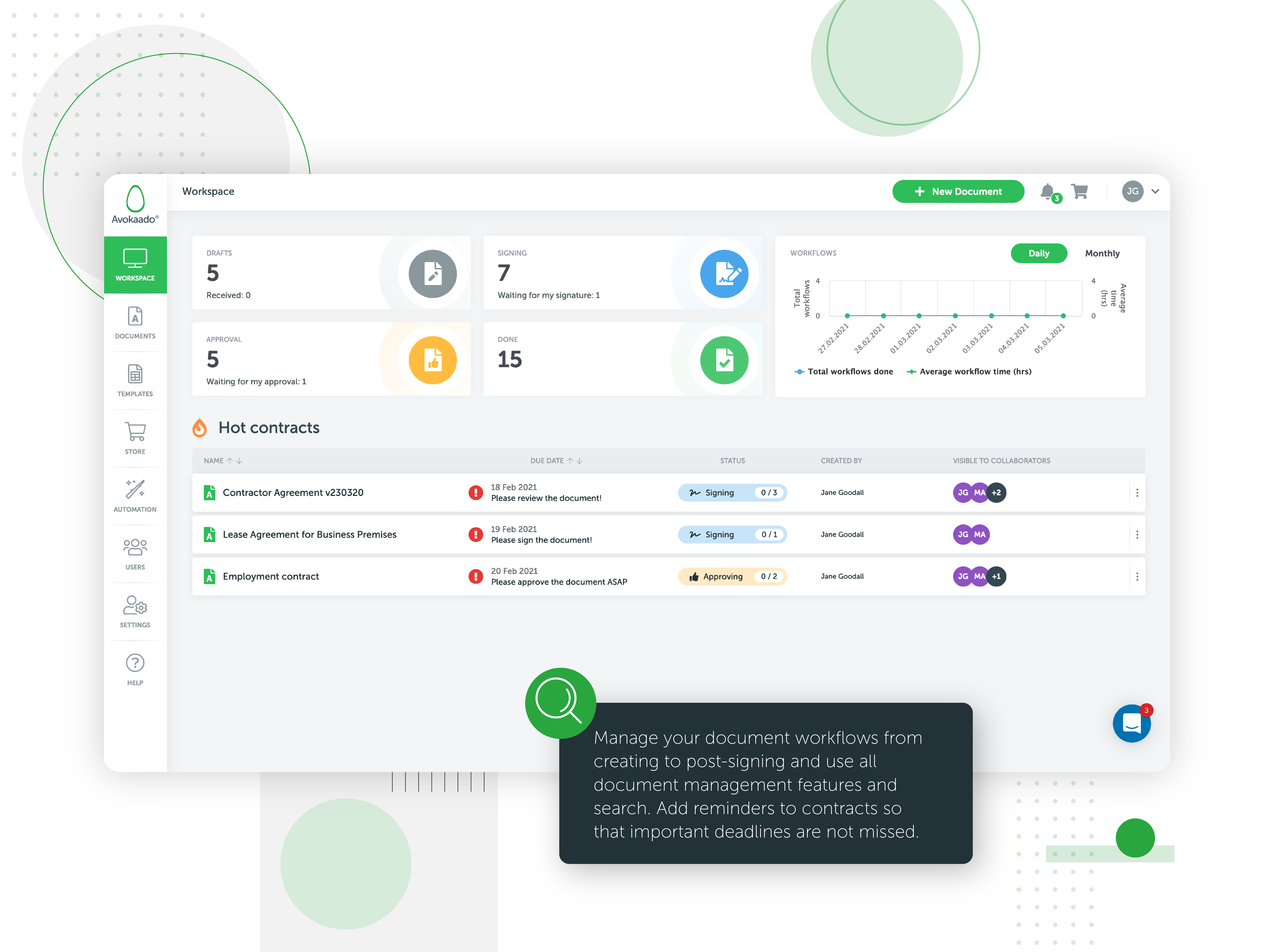 Avokaado is an all-in-one digital workspace for contract lifecycle management platform that helps legal and business teams manage, create and collaborate on documents from one single platform at every stage of the document lifecycle.