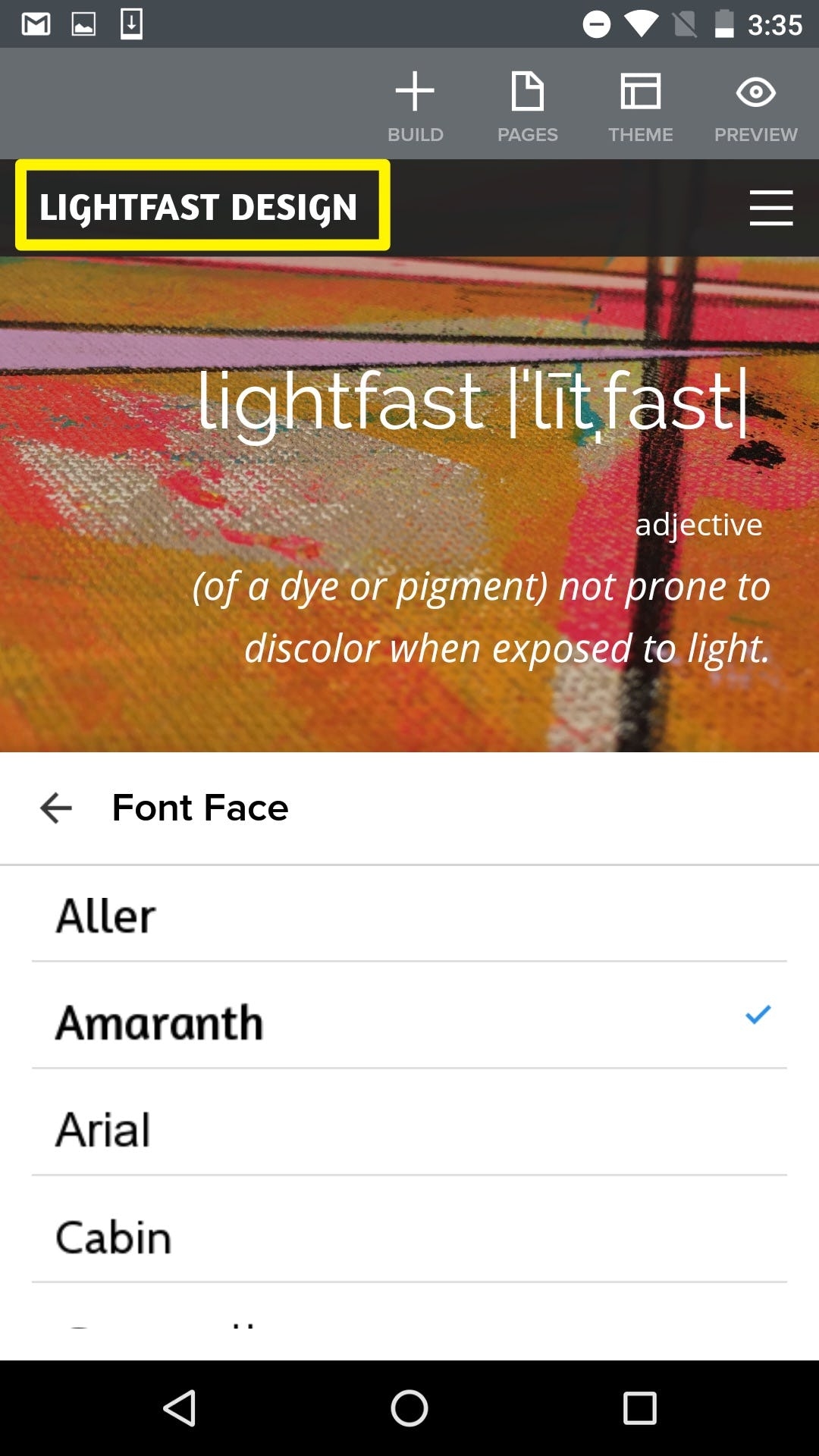 Mobile themes and fonts