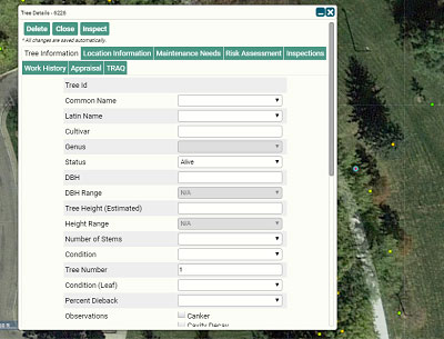 TreePlotter INVENTORY data points can be added, edited, moved or deleted from a tree inventory