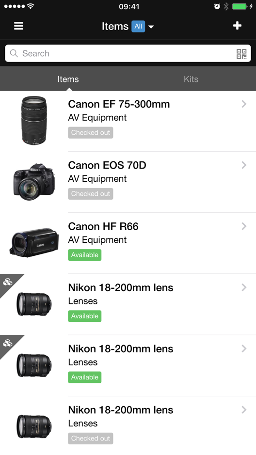 Get an instant overview of what equipment is in or out via mobile device