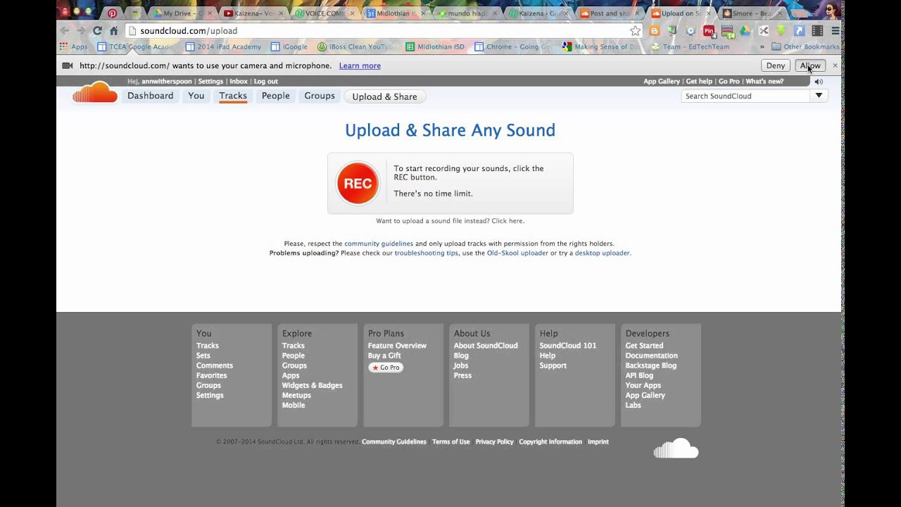 SoundCloud upload and save