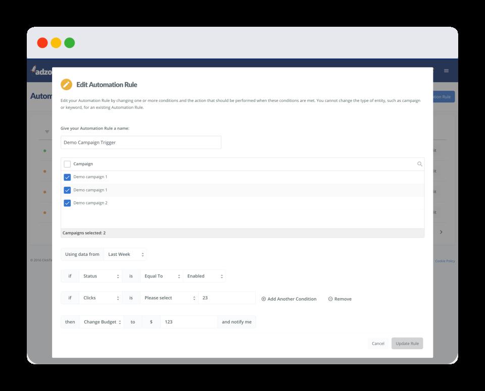 Adzooma automation editing screenshot