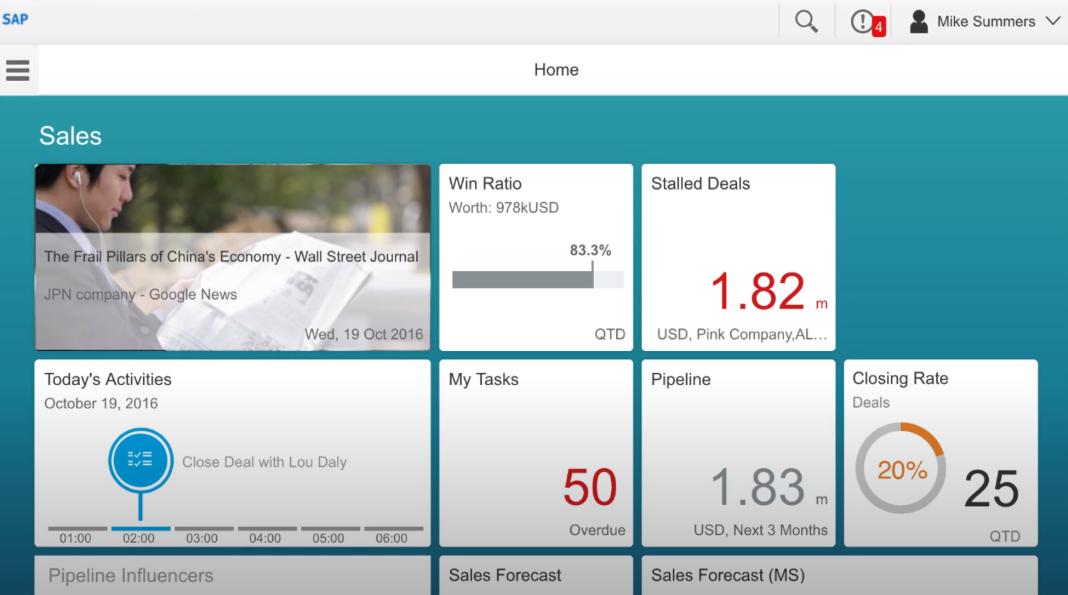 SAP Sales Cloud homepage