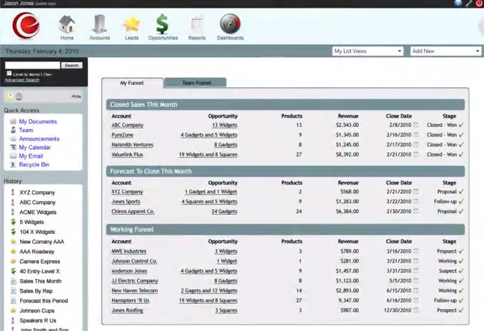 eSalesTrack CRM Software - Team report