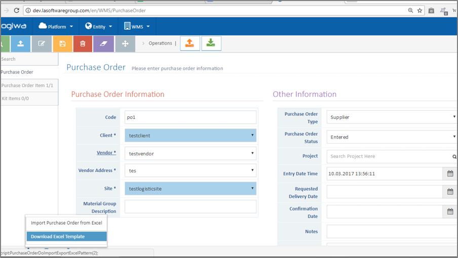 Logiwa WMS Software - Purchase order
