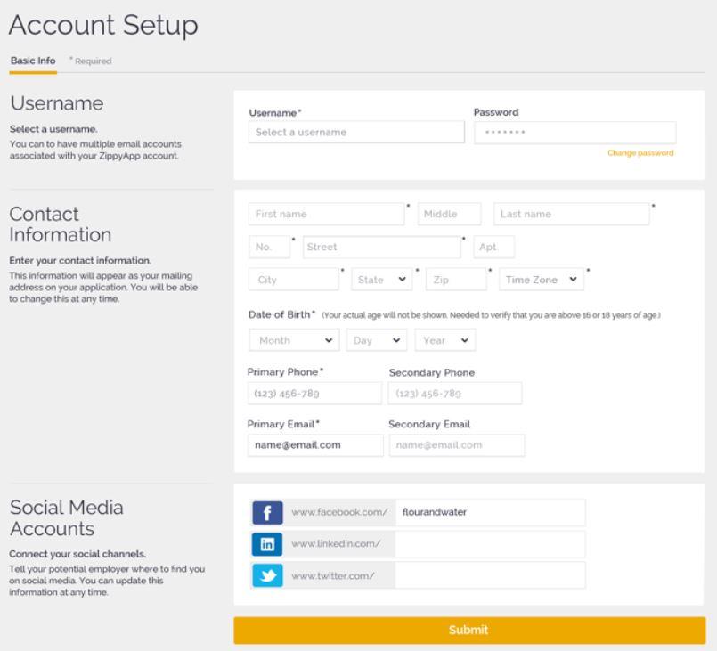ZippyApp set up account
