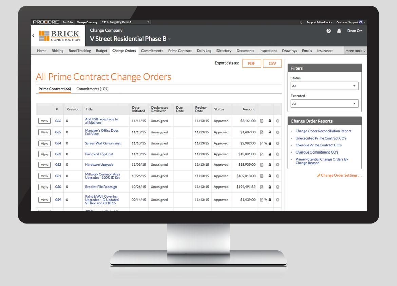 Procore Software - Procore change orders