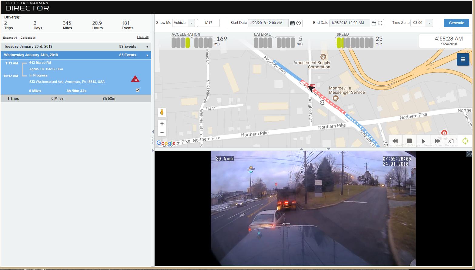 Teletrac Navman DIRECTOR Software - Dash cam