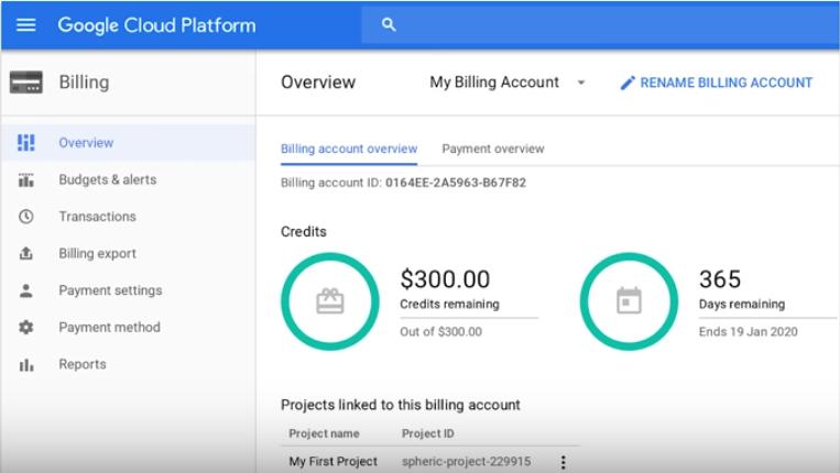 Google Cloud Platform screenshot: Google Cloud Platform billing