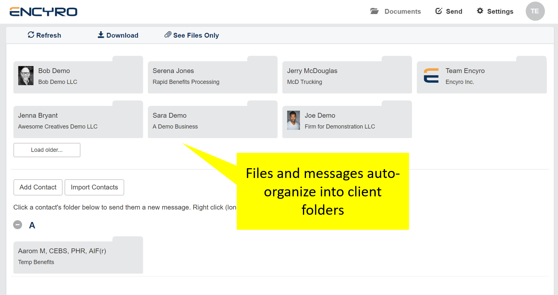 Files auto-organize by client