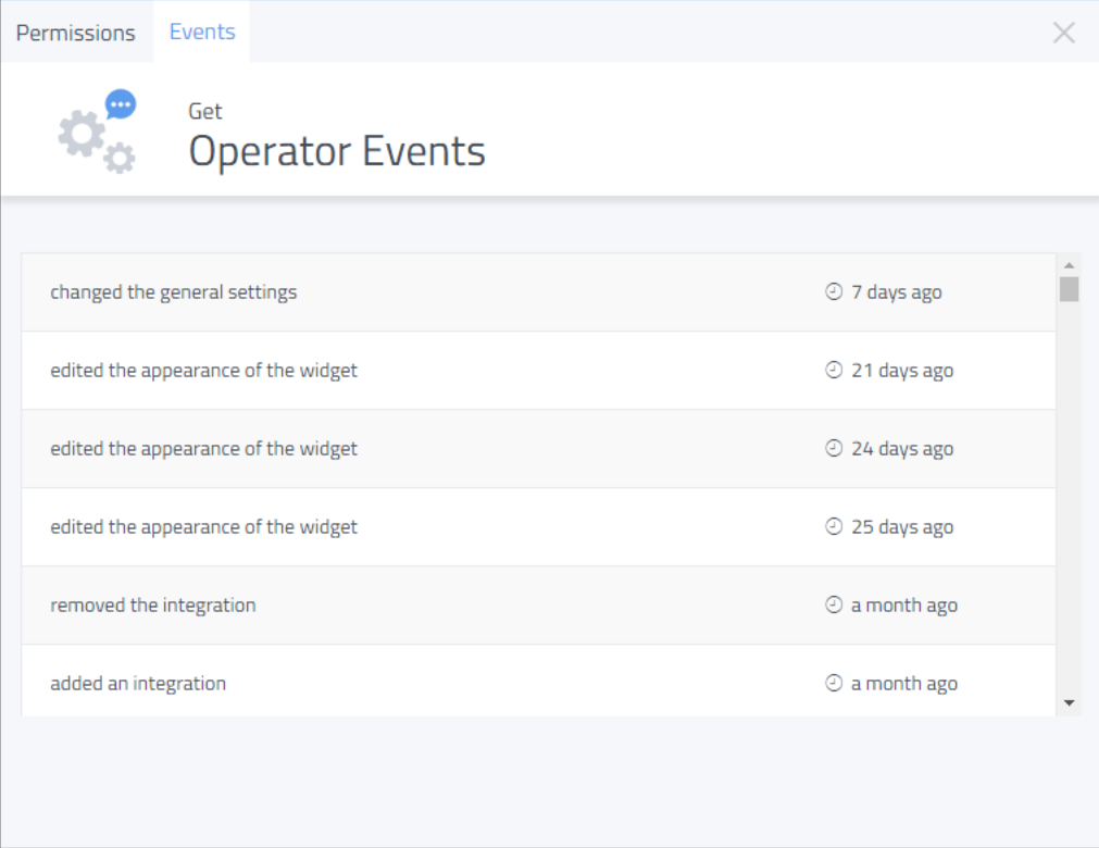 Operator actions can be tracked, showing any changes made to the settings or chat widgets