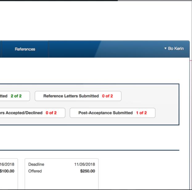 Blackbaud Award Management scholarship status screenshot