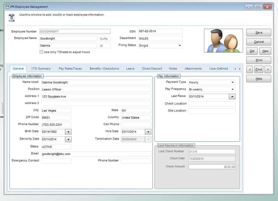 Employee maintenance includes the recording of detailed employee profiles containing contact and pay information