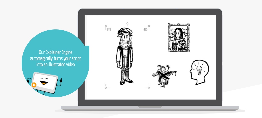 The explainer engine illustrates the story with images designed to engage audiences