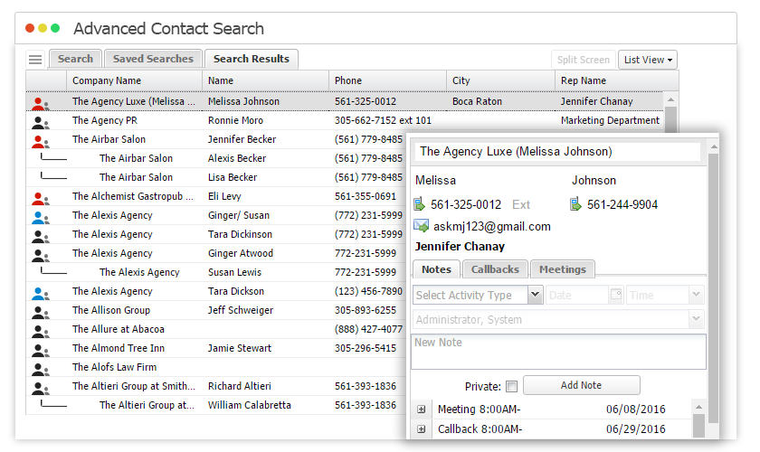 The Magazine Manager advanced contact search